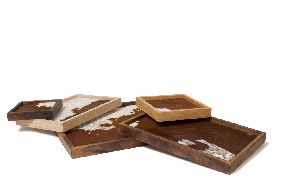 tray with cow hide custom furniture maker