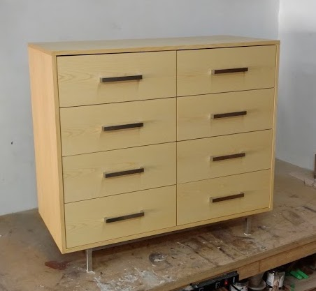 custom furniture maker dresser ash and stainless steel base