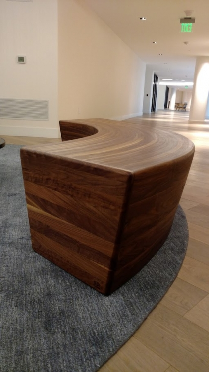 custom furniture maker walnut bench