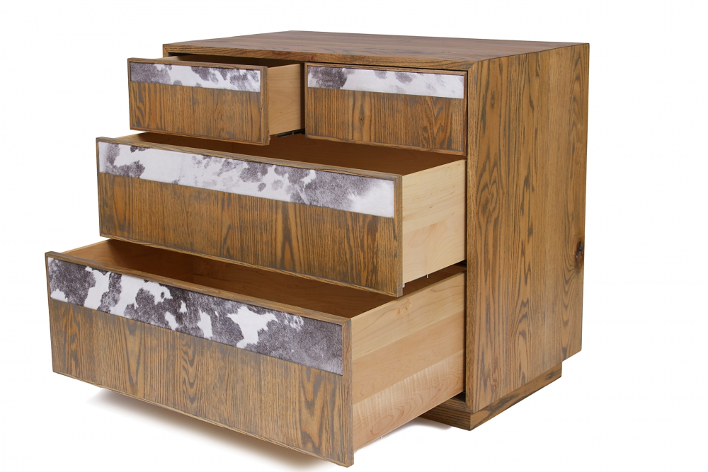 custom furniture maker Dresser with black and white cow hide drawer fronts and american solid oak 4
