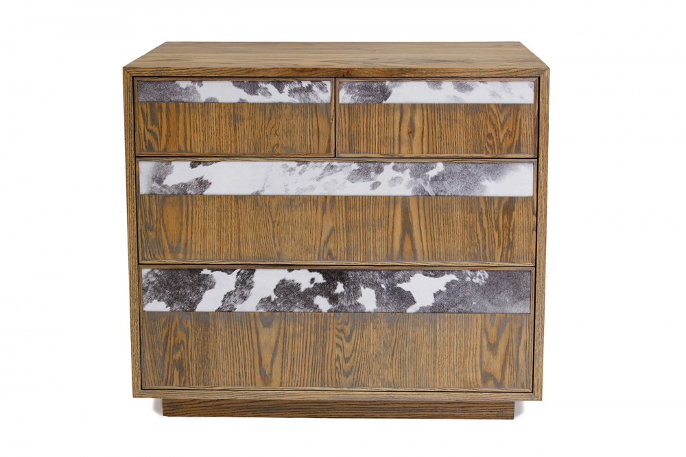 custom furniture maker Dresser with black and white cow hide drawer fronts and american solid oak 2