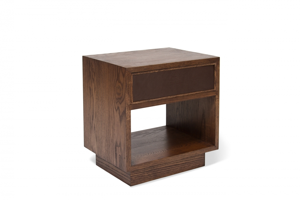custom furniture maker night stand with cow hide drawer front