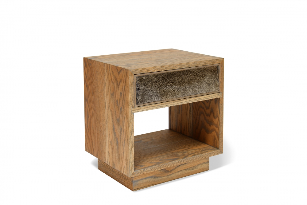 custom furniture maker nightstand with cow hide drawer front