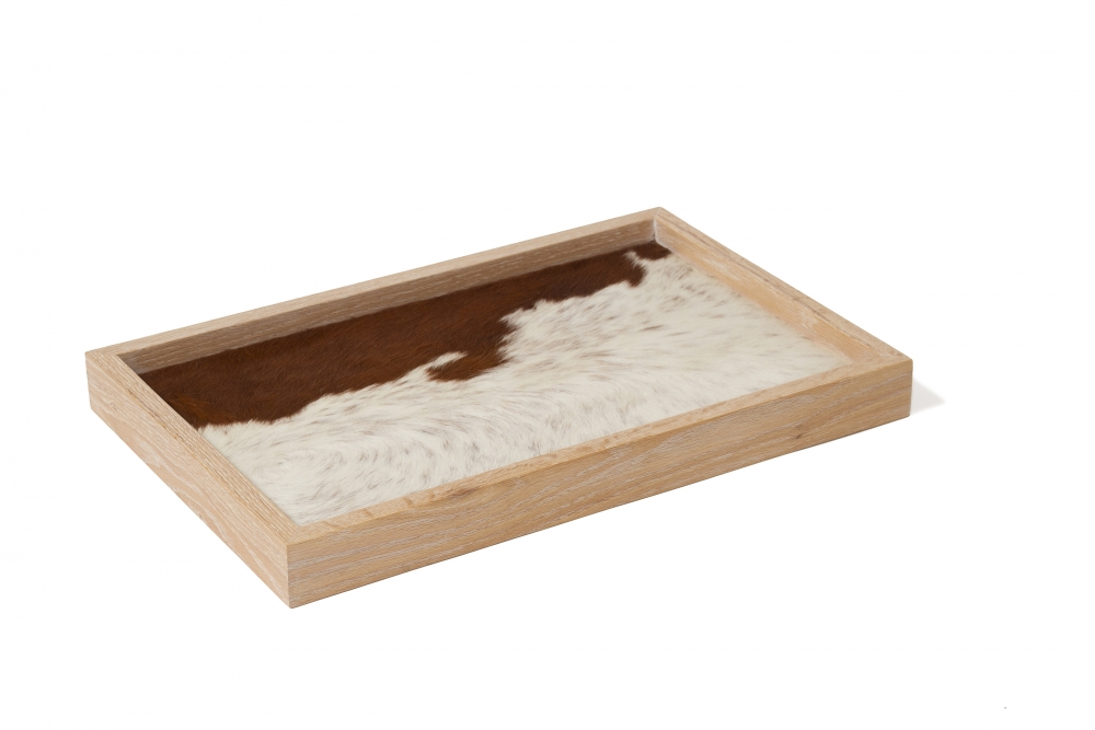 Breakfast tray or Presenting tray with cow hide custom furniture maker