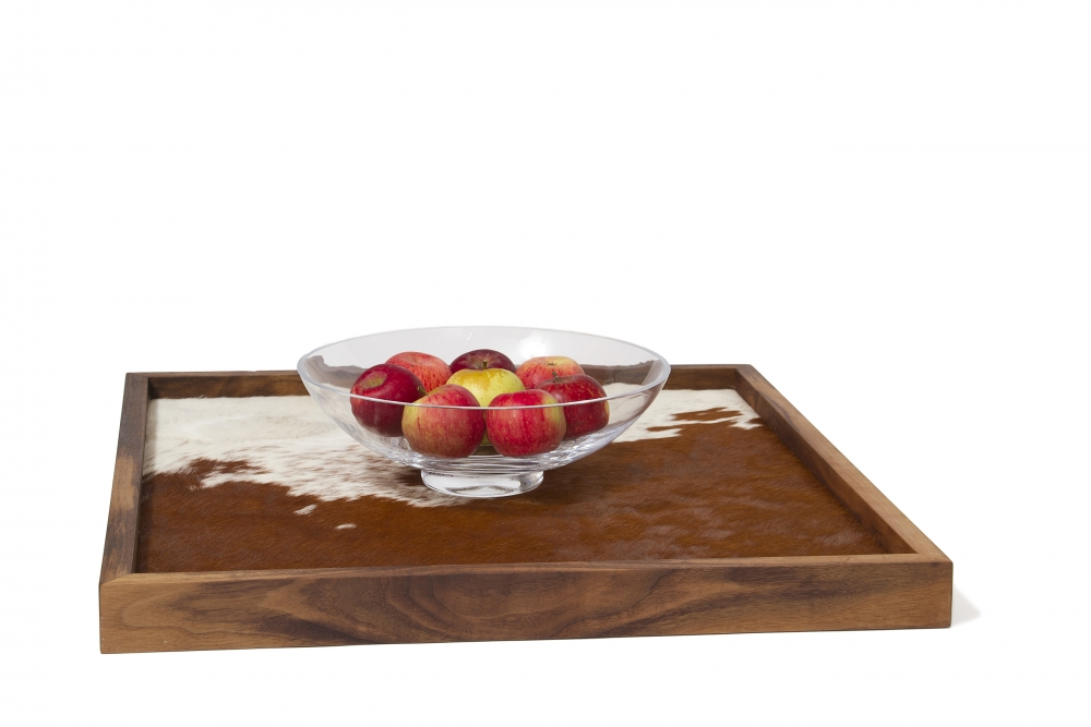ottoman tray with cow hide custom furniture maker
