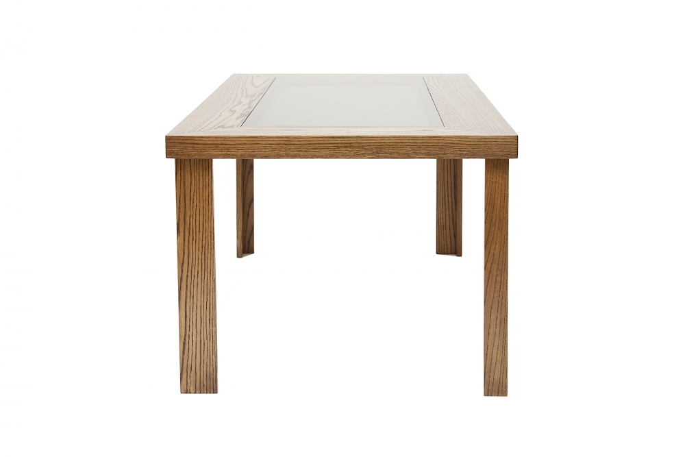 custom furniture maker tempered Glass top Dining table in solid american oak front view