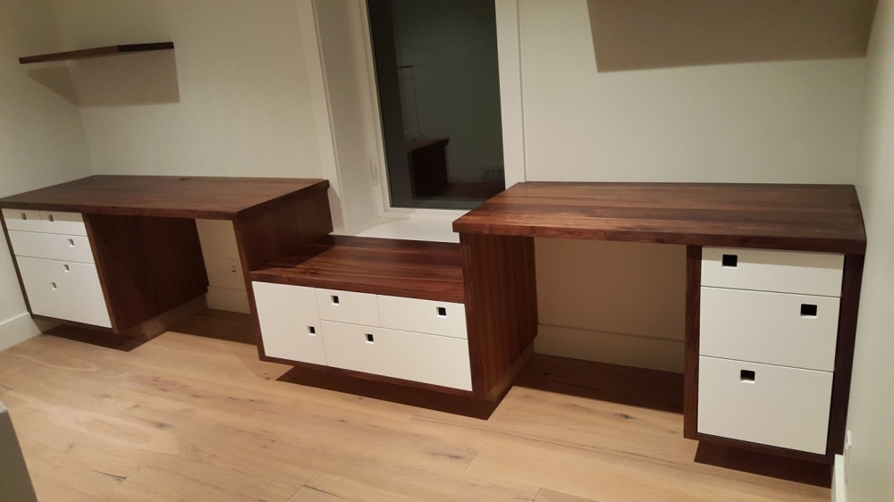 custom furniture maker built in desk walnut