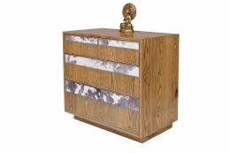 custom furniture maker Dresser with black and white cow hide drawer fronts and american solid oak 1