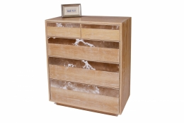 custom furniture maker Dresser with brown and white cowhide drawer fronts and american solid oak 1