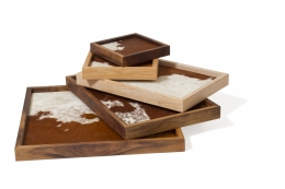 custom furniture maker tray with cow hide